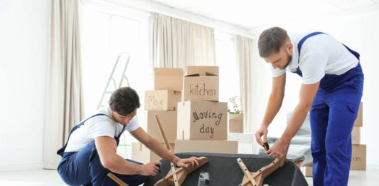 Male movers assembling sofa in new house