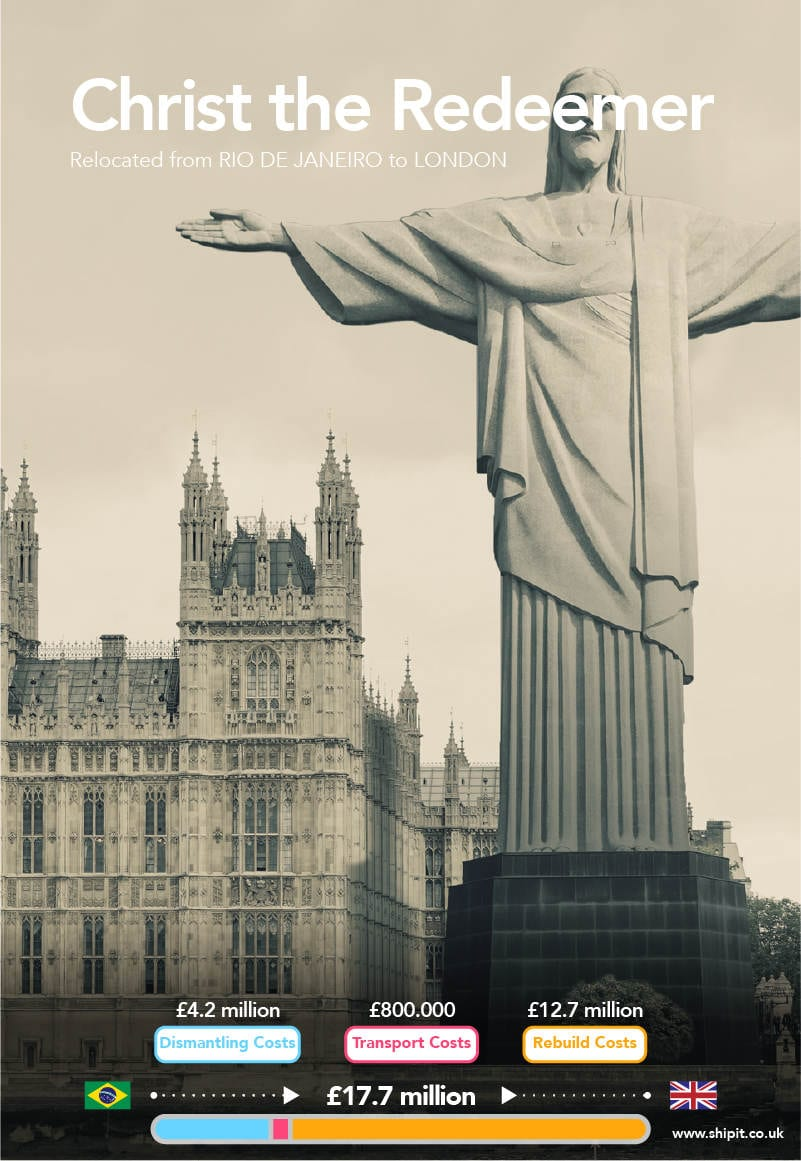 Christ the Redeemer relocated from Rio de Janeiro to London