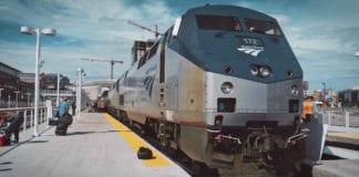 Amtrak train waiting at the platform