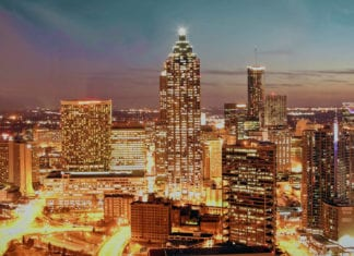Atlanta cityscape at night