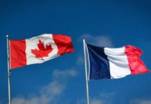 Canadian and French Flags
