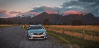 Driving in New Zealand at dusk
