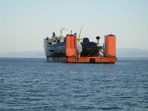 Russian cargo ship transporting nuclear powered submarines