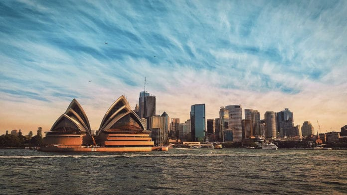 Sydney arbour at dusk