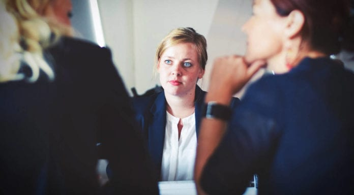 three woman at job interview