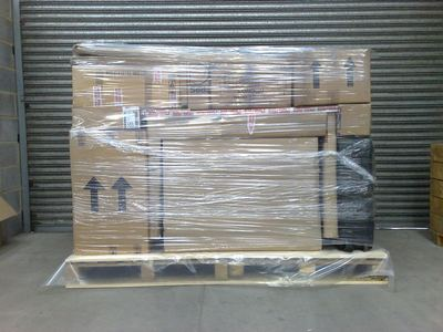 Next, items are efficiently arranged onto your pallet and wrapped in clear stretch-wrap film.