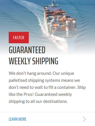 Weekly international removals shipping